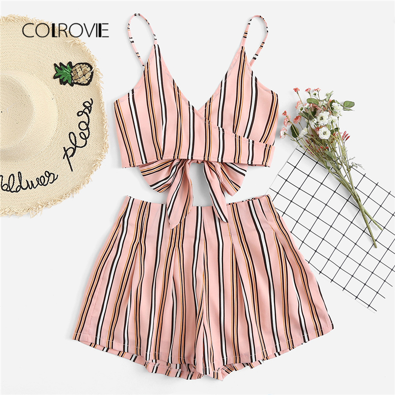 COLROVIE Knot Back Striped Summer Two Piece Set 2018 Pink Sleeveless Backless Vacation Clothing Set Spaghetti Strap Women Set
