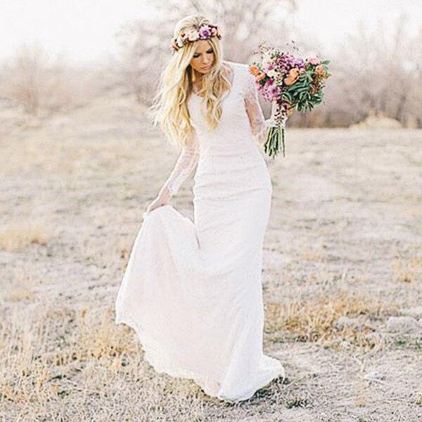 Wedding Gown Styles: 2017 Bohemian Style Long Sleeves Wedding Dresses Sheath