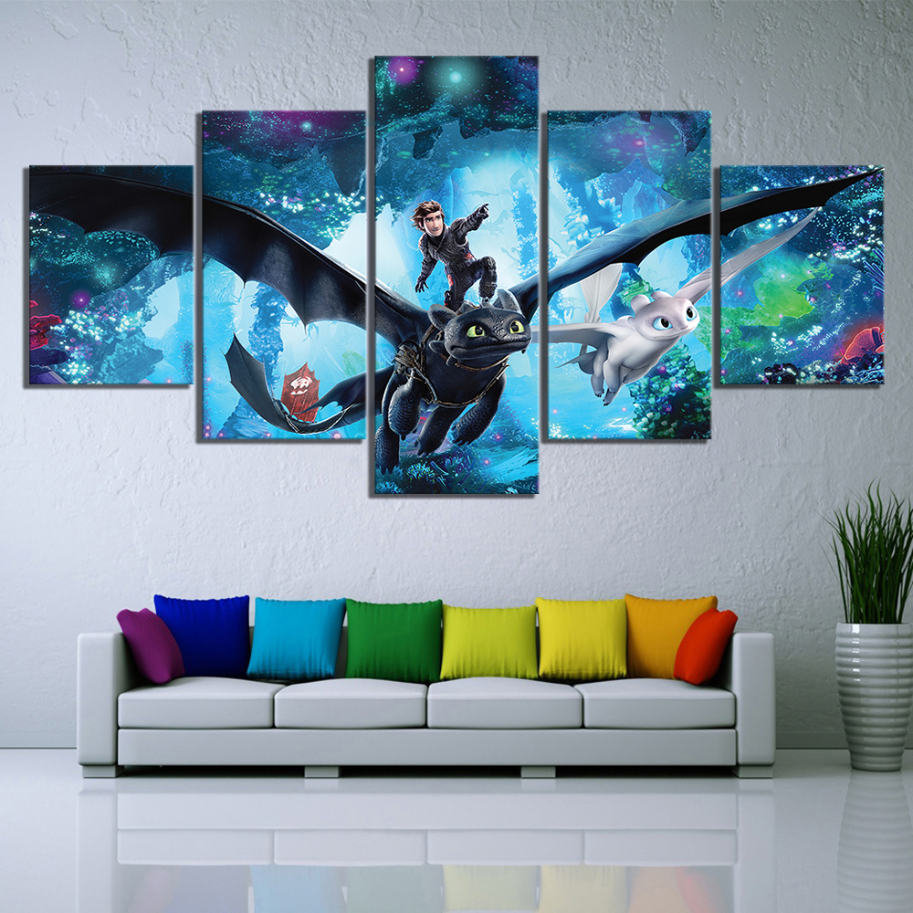 5 pcs Full Square 5D DIY Diamond Painting How To Train Your Dragon Full diamond Embroidery