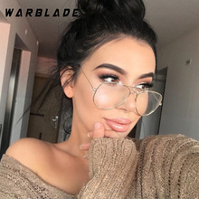 WarBLade Band Glasses Alloy Gold Frame Glasses Classic Optics Eyeglasses Transparent Clear Lens Mujeres Hombres Fake Glasses Female