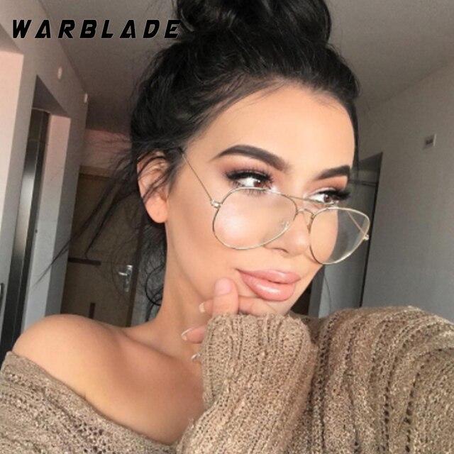 WarBLade Banda Liga De Óculos Óculos De Armação de Ouro Clássico Óptica Óculos Transparente Lente Clara Óculos Dos Homens Das Mulheres Falso Feminino