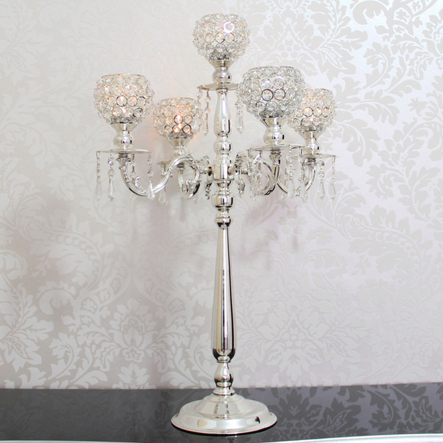 76cm Tall 5 arms Silver candelabras with crystal pendals,wedding ...