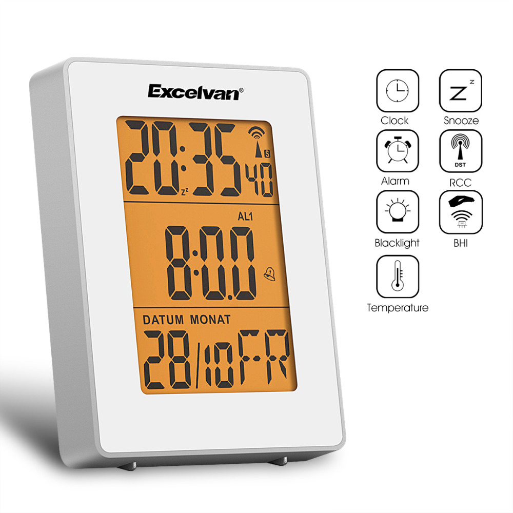 modern outdoor thermometer reviews  online shopping modern  - digital projection date alarm clock indoor outdoor temperature wake upclock temperature thermometer clock radio controlled cet
