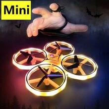 Mini Dron de inducción de cuatro ejes reloj inteligente sensor remoto Avión RC UFO somatosenorial interacción nocturna RC Juguetes