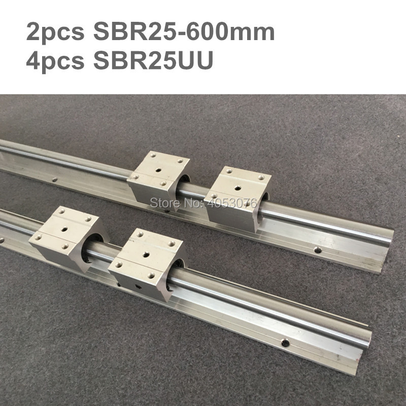2 pcs linear guide SBR25-L600mm Linear rail shaft support and 4 pcs SBR25UU linear bearing blocks for CNC parts2 pcs linear guide SBR25-L600mm Linear rail shaft support and 4 pcs SBR25UU linear bearing blocks for CNC parts