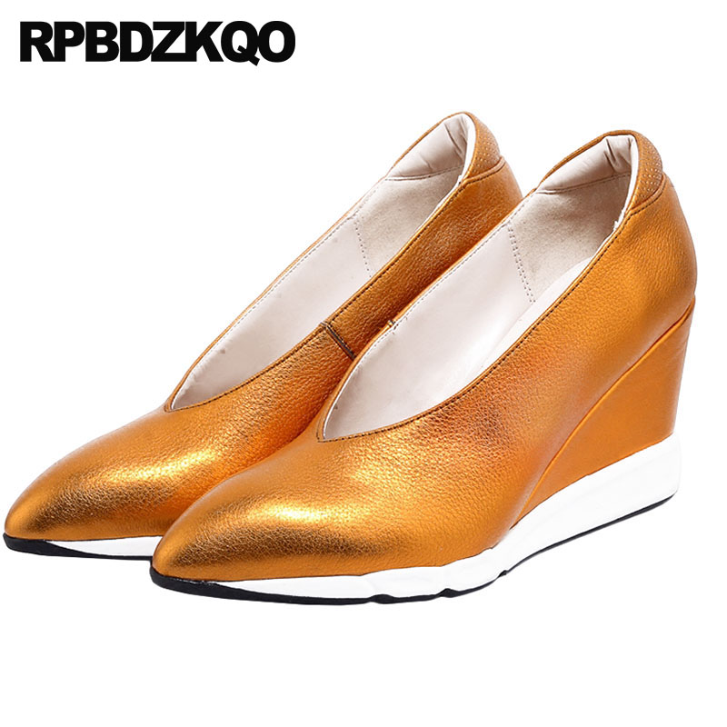 e300810ce9 Size 4 34 Orange Ladies Genuine Leather Handmade Gold Women Shoes For Party  Wedge High Heels
