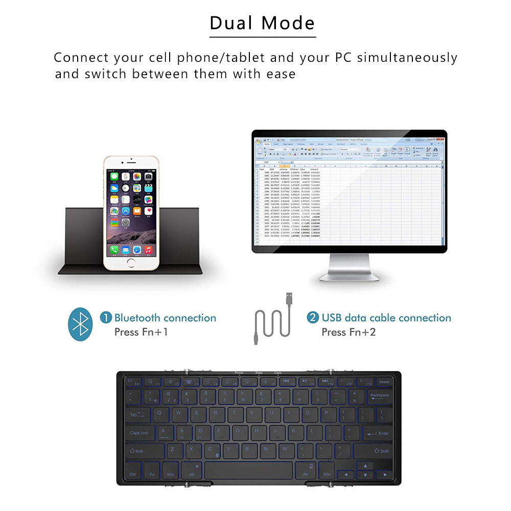 Image 2 - AVATTO Aluminum alloy Portable Folding Bluetooth Keyboard, BT wireless Backlit mini Tablet Keyboard For IOS/Android/Windows ipad-in Keyboards from Computer & Office