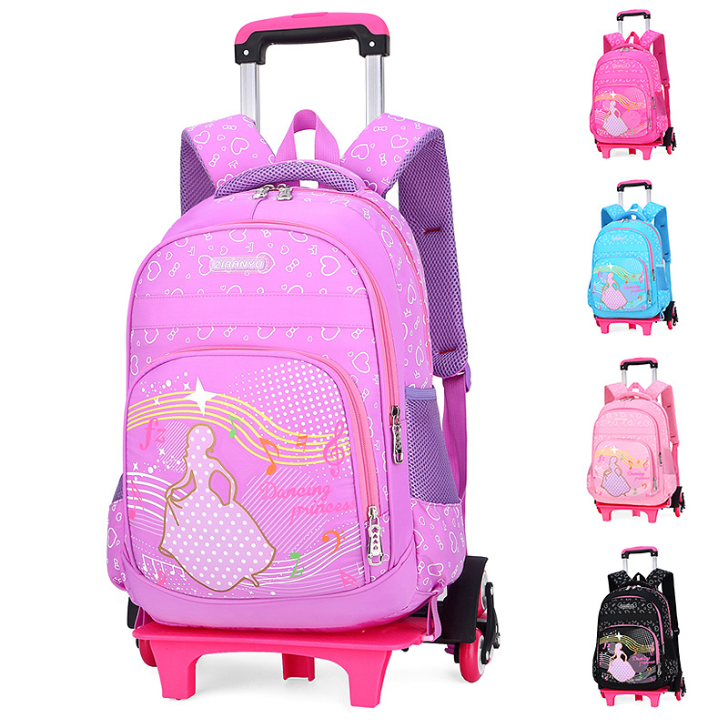 Children Trolley Backpack School Bags For Grils Six Wheel Students Removable Nylon Orthopedic Backpacks for teenagers