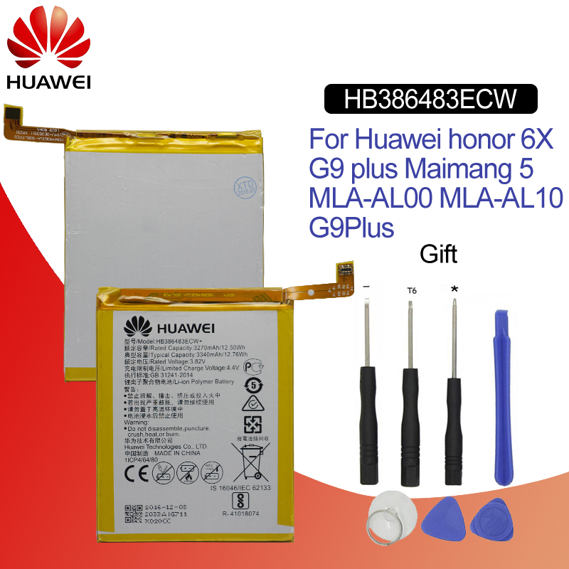 Hua Wei Original Phone Battery HB386483ECW For Huawei Honor 6X / G9 plus / Maimang 5 3340mAh Replacement Batteries Free Tools-in Mobile Phone Batteries from Cellphones & Telecommunications