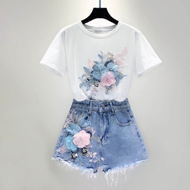 European Women Two Piece Set Embroidery 3D Flower Cotton TShirts +Short Jeans Sets Summer Short Sleeve Top Tees Shorts 2pcs Sets