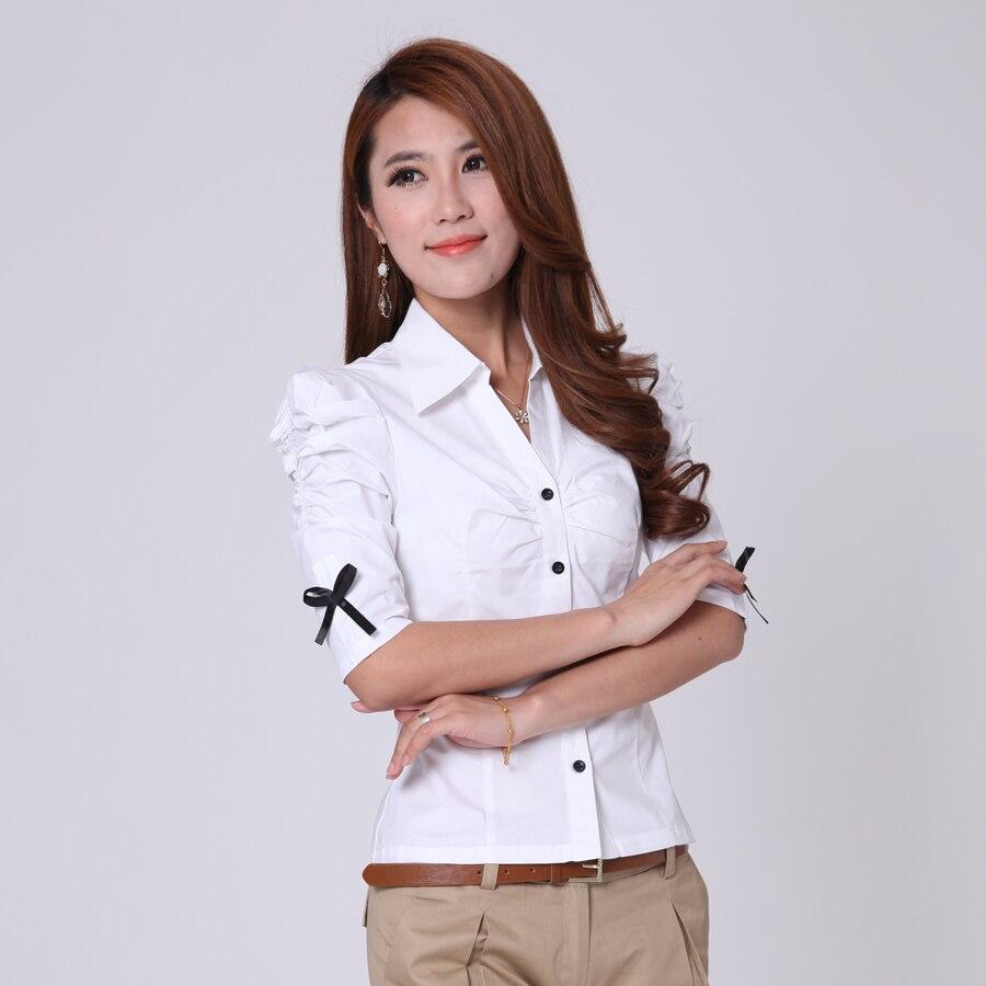 Shirt design female - V Neck Design Women Summer Cotton Shirts Size Xs Xl Bow Decoration Lady Casual