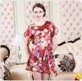 2017 Spring Summer European Fashion Silk Nightgown Women Sexy Floral Nightdress Sleepwear Casual Homewear Free Shipping