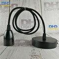 Бесплатная доставка E27 лампа Эдисона черная бакелитовая розетка пластиковая лампа держатель с 1 1 метром черный кабель и Потолочная пластин...