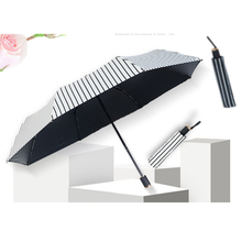 New Sun Umbrella Folding Protection UV Men and Women Simple fashion stripe White Black
