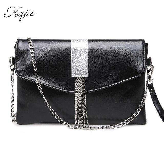Kajie New Metal Chain Silver Tassel Casual Ladies Envelopes Shoulder Bag Handbag Crossbody Messenger Women's Purse Clutch Bag