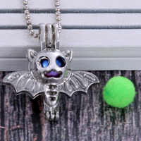 Bat vampire pendant Pearl Cage Necklace Locket Pendants Vintage Aromatherapy Essential Oil Diffuser Chain Locket For Women Charm