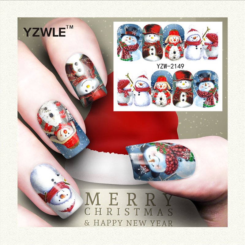 YZWLE 1 Folha de Projeto Do Natal DIY Decalques de Impressão de Transferência da Água Adesivos de Unhas Arte Acessórios Para Salão de Manicure (YZW-2149)