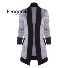 Open Front Two Tone Knit Cardigan Women Clothing Long Sleeve 2019 Autumn High Collar Casual Sweaters With Pockets цена
