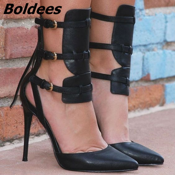 Unique Design Black PU Leather Buckles Fringe Pumps Novel Women Cut-out Pointy Stiletto Heel Tassel Sandal Booties Fashion Shoes unique new design chain decorated fringe
