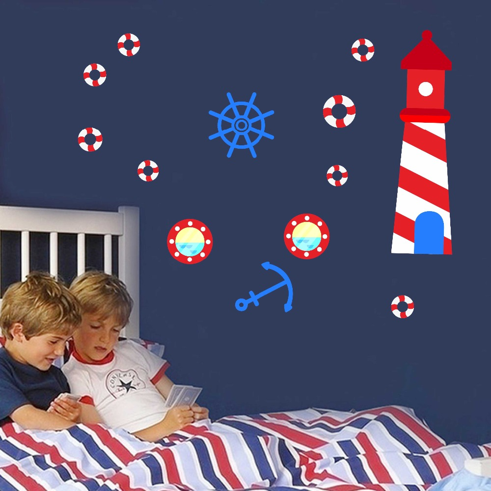 Anchor Lighthouse Octopus Submarine DIY Wall Art Decal For Kid Nursery Bedroom Home Decor Vinyl Wall Sticker Removable Wallpaper (3)