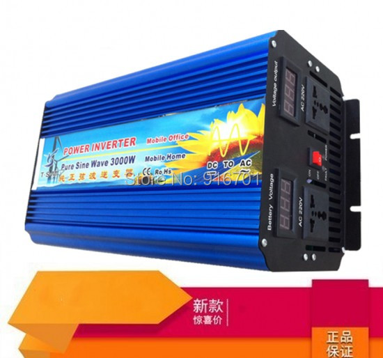 Digital Display 6000W peak 3000W Power Inverter Pure Sine Wave DC 12V to AC 220V Solar/Wind/Car/Gas Power Generation Converter 6000w peak pure sine wave solar power