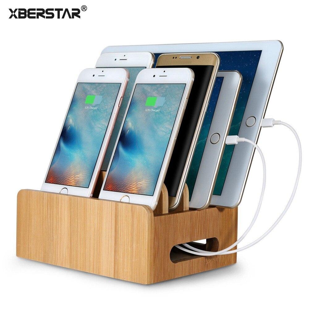 imágenes para XBERSTAR Bambú Soporte para iphone Soporte para Samsung Teléfono Estación de Carga Cables Muelles Soporte para Los Teléfonos Inteligentes y Tabletas