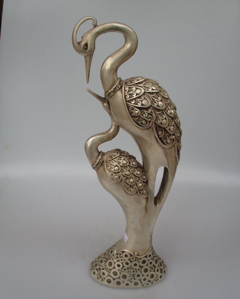 Antique antiques Collectible Decorated Old Handwork Tibet Silver Carved Double Crane Statue/Happiness Birds Big Sculpture