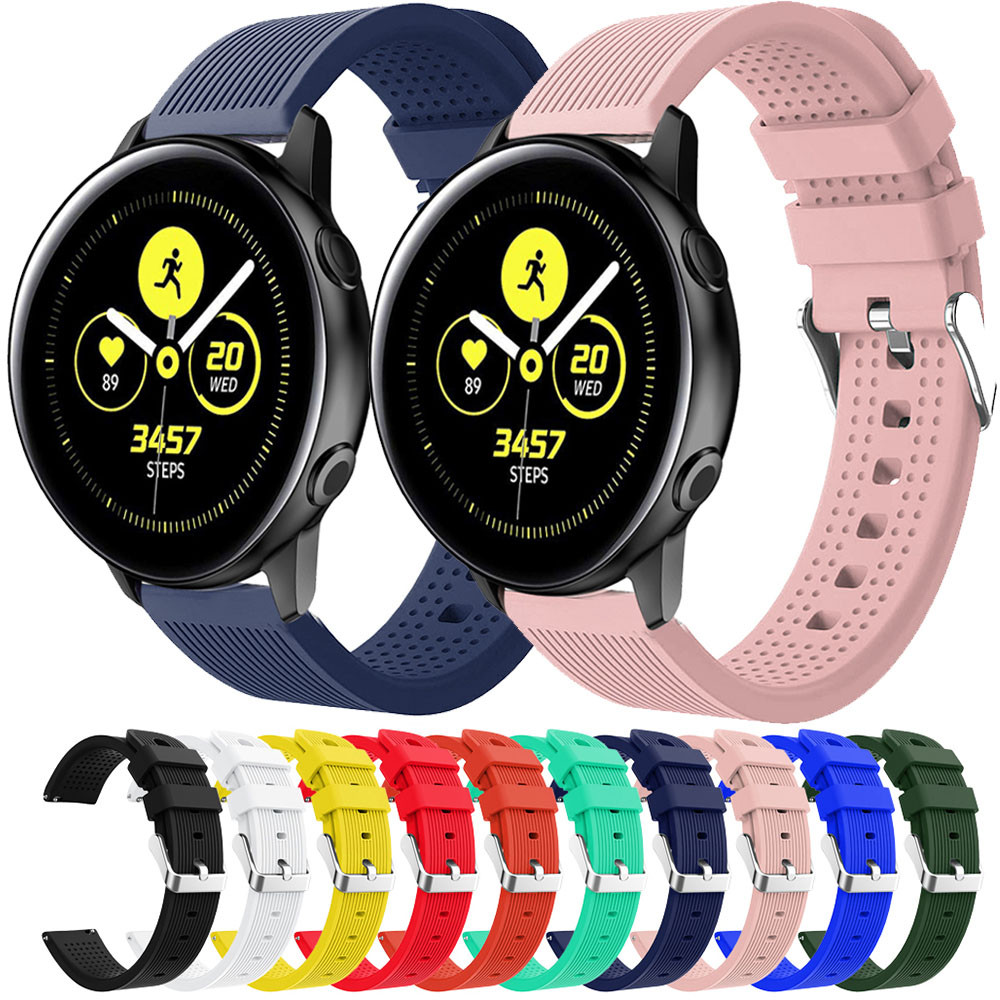 20mm Watch Strap Silicone For Samsung Galaxy Watch Active 42mm Gear S2 Bip Smart Bracelet Sport Replacement Wristband WatchBand
