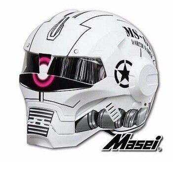 MASEI610 IRONMAN motorcycle helmet Casque motocross half helmet Personality open face helmet Trend Cycle Race helmet Matte White