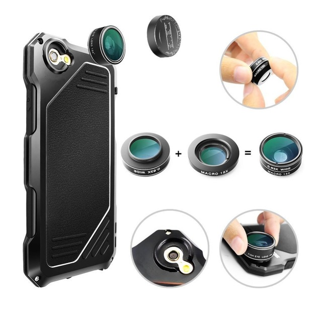 2017 nueva caja de lente ojo de pez para iphone 7 pesado a prueba de golpes pantalla de Protección De la Caja de Metal con Lentes de Gran Angular Ojo de Pez Macro