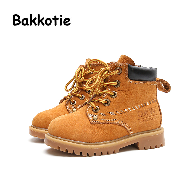Bakkotie Autumn Fashion British style Baby Girl Martin Boots Genuine Leather Ankle Child Boy Boots Kid Brand Toddler Shoes Khaki bakkotie 2017 new autumn baby boy white shoes cat kid girl brand leisure sneaker gneuine leather breathable child soft trainer