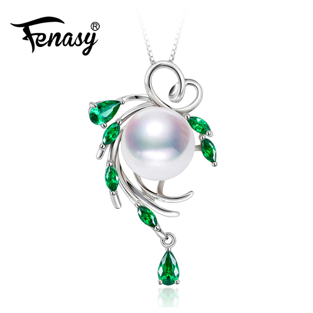 FENASY  freshwater pearl necklace pendant s925 sterling silver emerald necklace bohemia leaf fashion necklaces for women gift
