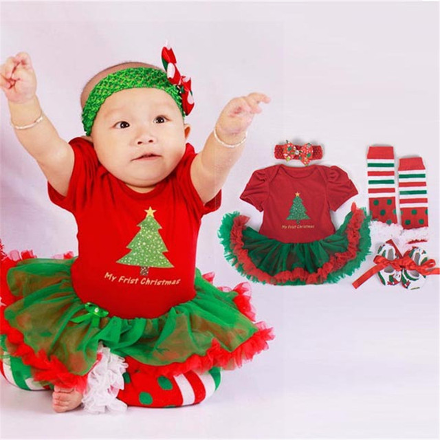 4pcs/set Christmas Tree Print Baby Girls Clothes jumpsuit+socks+band+shoes