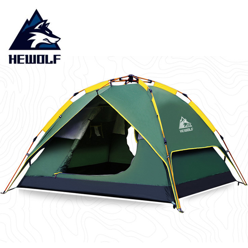HEWOLF 3 4 Person Family tourism Automatic Tent Waterproof Silver coated fabric UV protection Outdoor Camping Gazebo Tent