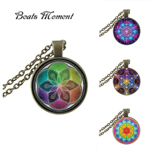 2017 New Flower Of Life Pendant Necklace Round Glass Jewelry Mandala Necklaces Pendants Vintage Trendy Link ChainsHZ1