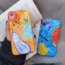 Glitter Phone Case For iPhone 7 8 Plus Dream Shell Fruit Pattern Cases XR XS Max 6 6S Luxury Soft TPU Cover