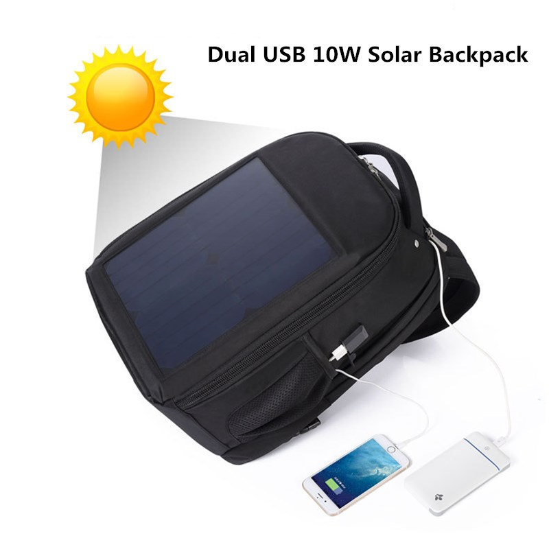 Letsolar 24 inch Dual USB 10W Solar Backpack For IOS Android Mobile Phones Tablet PC Sunpower Solar Panel Solar Charger sunpower 21 watt portable folding solar panel charger for ipad tablets mobile phones smart phones iphone 2xusb out