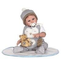 20inch Full Body Silicone Reborn delicate boy doll with bear Toddler pretty Toys best Xmas Birthday Gift bonecas toy Present