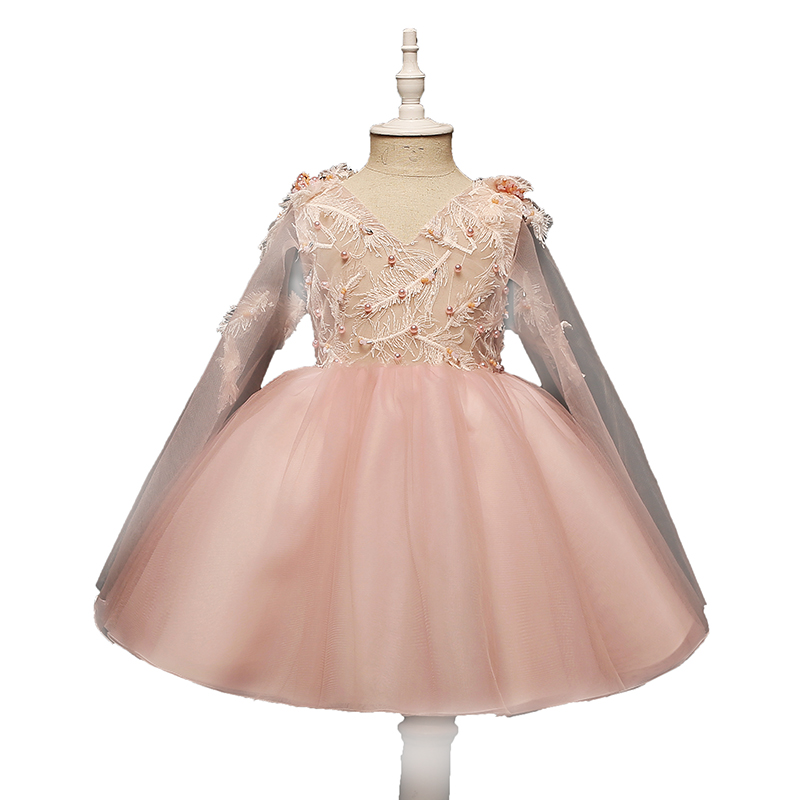 цены на v neck mini princess girl dress kids clothes embroidery beading 2017 new ball dress for girls mesh children vestidos QX290 в интернет-магазинах