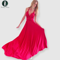 2017 Sexy Women Boho Maxi Club Dress Red Bandage Long Dress Party Multiway Bridesmaids Convertible Robe