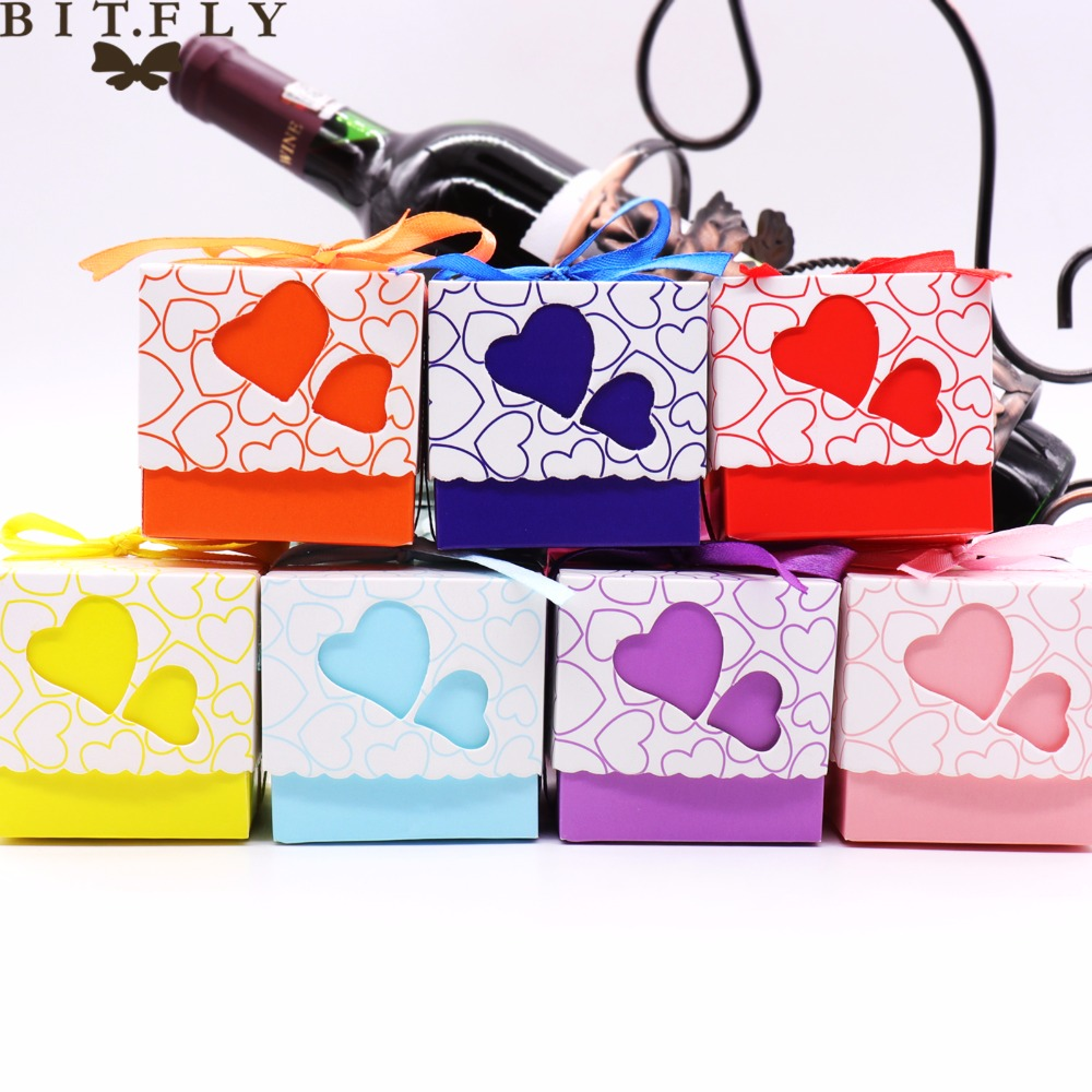 50pcs Wedding Candy Boxes Double Hollow Love Heart Design Laser Cut Wedding Party Favor Gifts Candy Bags With Ribbon Party Sup