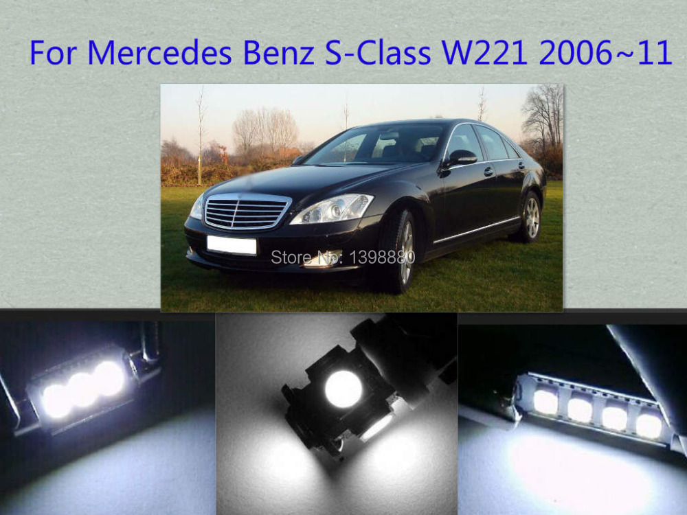 Error Free Canbus 16PCS White LED Interior Package kit For S-Class W221 2006~2011 Map Dome Trunk Courtesy Tag Lights