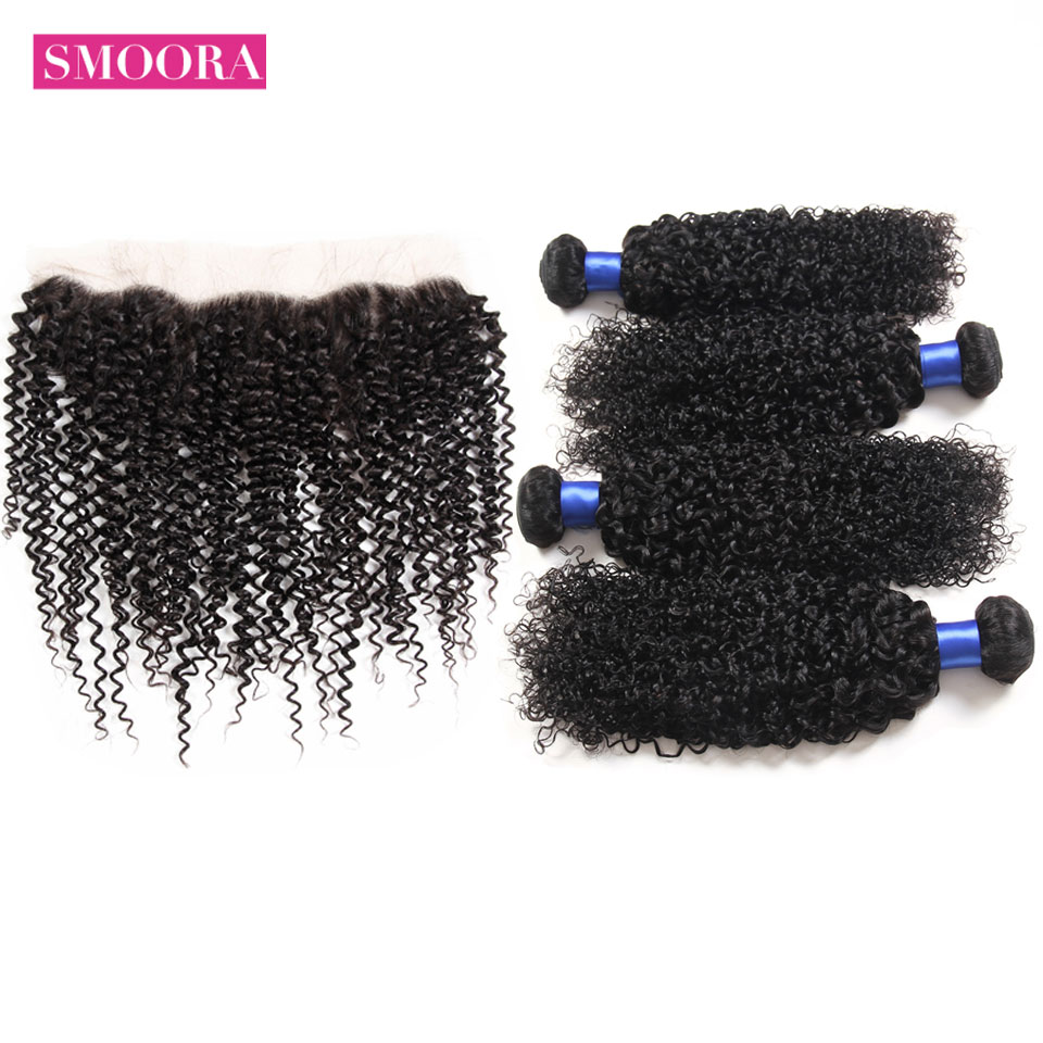 SMOORA Malaysian Kinky Curly Hair Extension Bundles With Ear To Ear Frontal 5 PCS/LOT Deal Human Hair With Front Lace