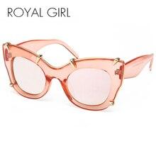 ROYAL GIRL Women Cat Eye Oversized Sunglasses Brand Designer Ladies Rivets Claw Frame Glasses  ss794