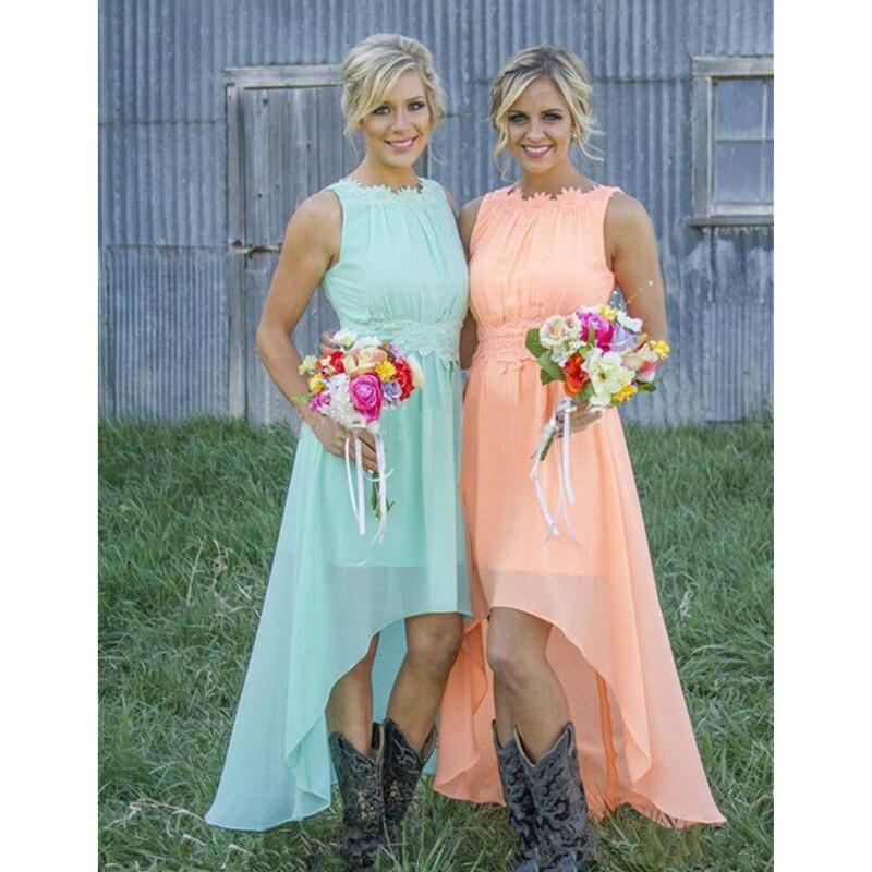 Teal Orange Bridesmaid Dresses Light