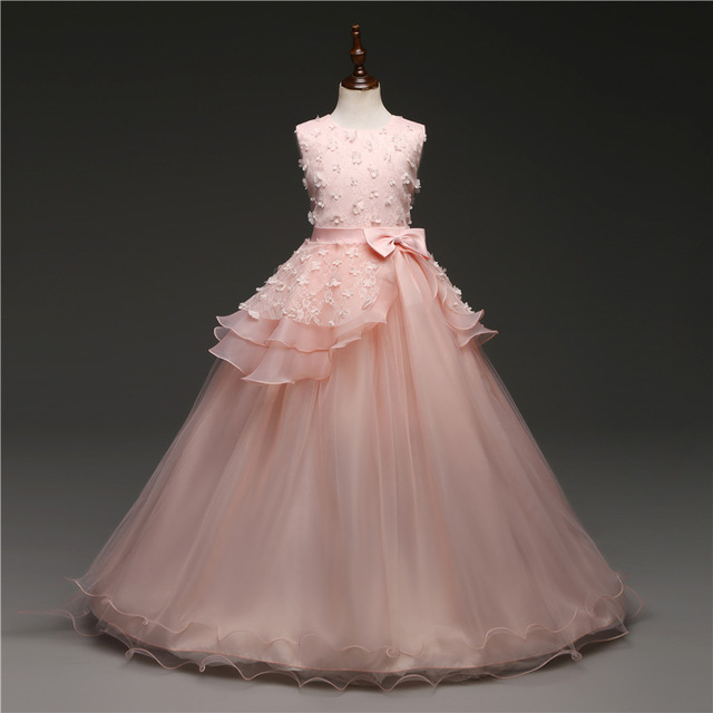 fd8eb93d0f9aa Nouveau 2018 robes de fête de mariage pour les filles de 14 ans Tulle  dentelle longue