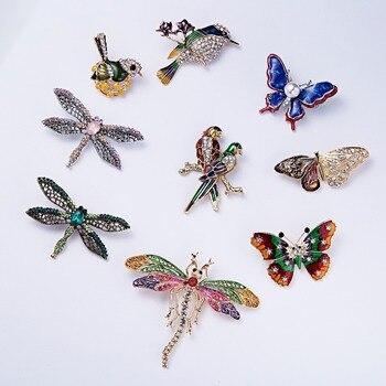 Alloy Purple Enamel Butterfly Bragonfly Bird Brooches 1
