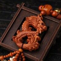 التنين لونج 3D الخشب منحوتة الصينية فنغ شوي Kallaite حبات خرز كهرمان سيارة قلادة تماثيل ومنحوتات المنزل والحديقة -