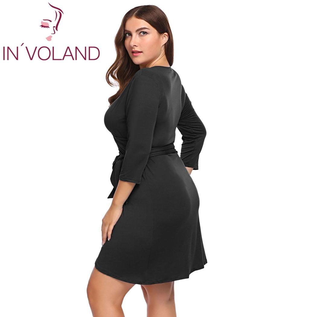 IN\'VOLAND Frauen Party-kleid Plus Größe L-4XL Sommer Sexy V-ausschnitt 3/4 Hülse Asymmetrische Binden Wrap Vintage Kleider Vestidos