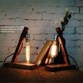 Американский кантри старинные деревянные лампы Эдисон зал Кофе Nordic Industrial настольная лампа прикроватная лампа Творческий украшения свет